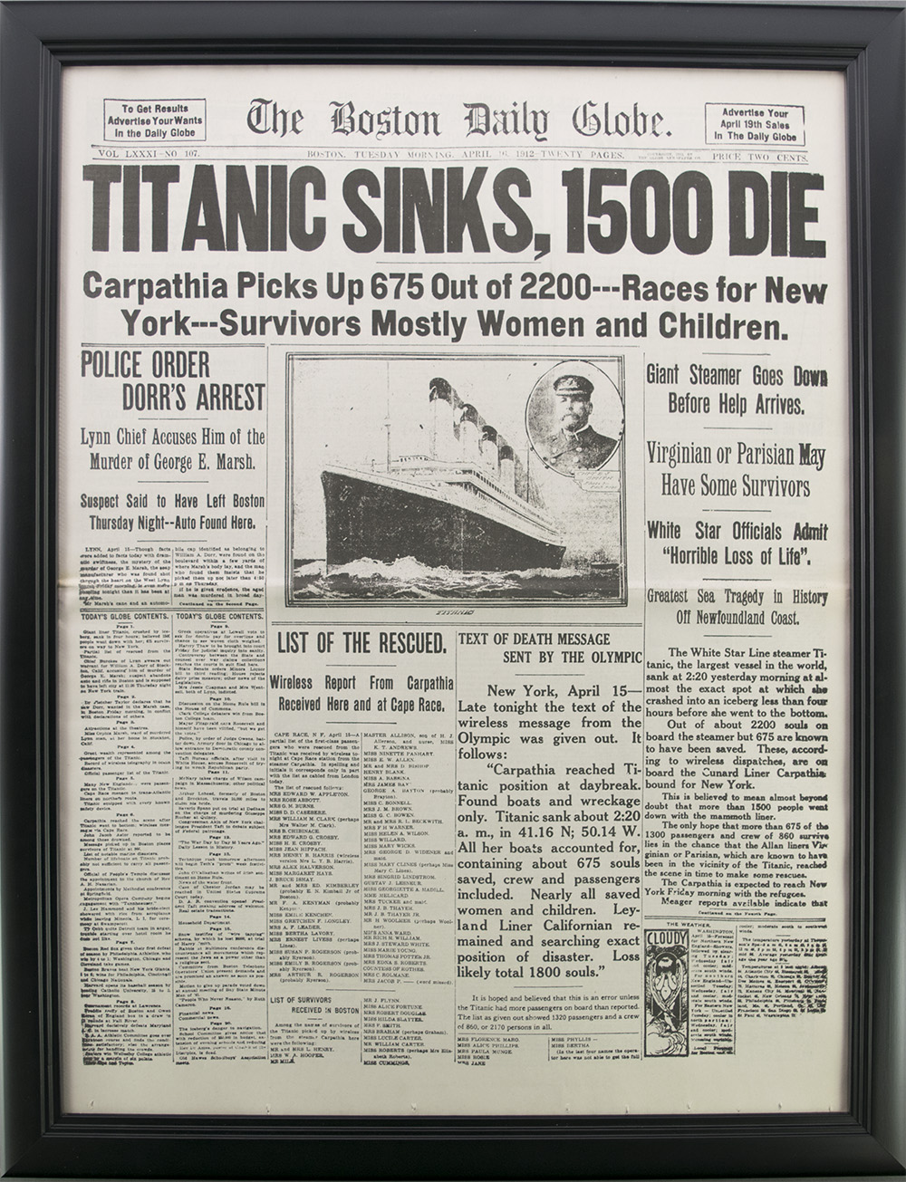 framed titanic reproduction newspaper