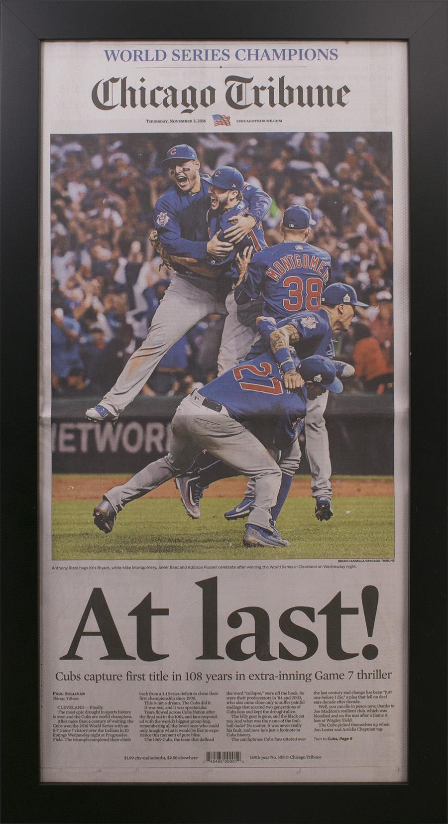 Chicago Cubs 2016 World Series Tribune Newspaper Frame