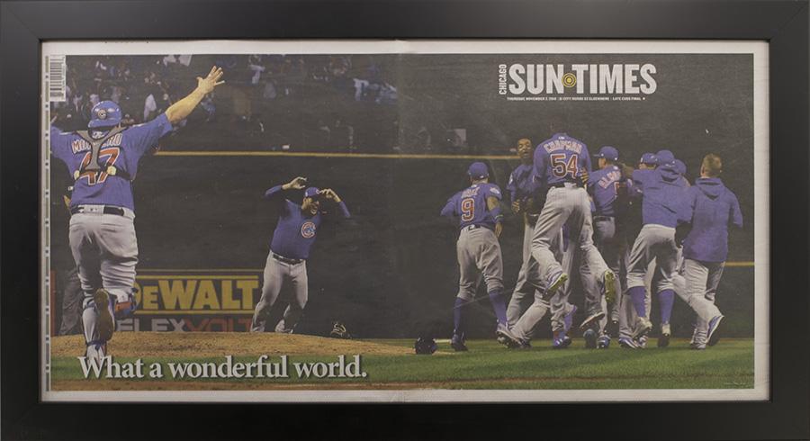 129c69200b7 Chicago Cubs 2016 World Series Sun Times Newspaper Frame Chicago ...