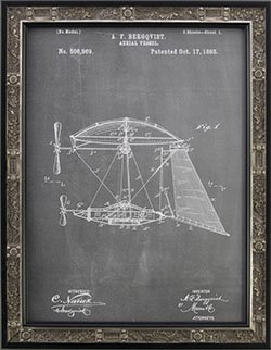 Steampunk Picture Frame. Aerial Vessel 1893 Patent Reprint