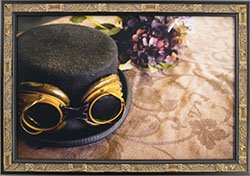 Framed SteamPunk Art Picture Frame. Top Hat With Goggles.