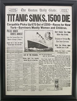 Framed Titanic Reproduction Newspaper.