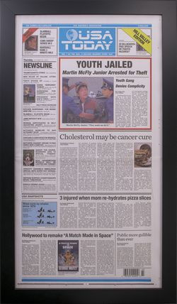 Framed USA Todays 10/22/2015 Back To The Future Newspaper.