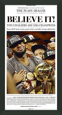 Framed Cleveland Cavaliers win 2016 NBA Championship.