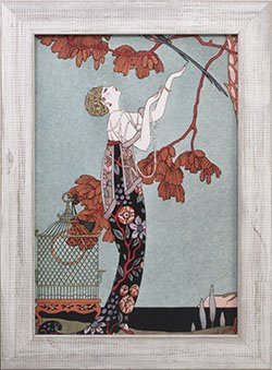 Framed 1914 Fashion Illustration reprint.