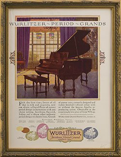 Framed 1925 Wurlitzer Jacobean Period Grand Piano Ad.