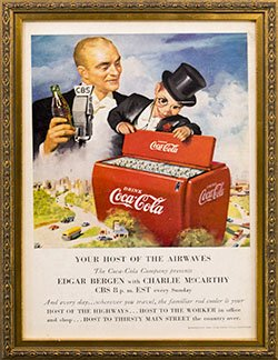 Framed 1950 Edgar Bergen with Charlie McCarthy Coke Ad