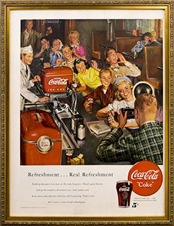 Framed 1950 Coca Cola Ad. Refreshment, Real Refreshment.