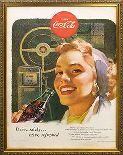 Framed 1953 Coca Cola Ad. Drive Safely Drive Refreshed