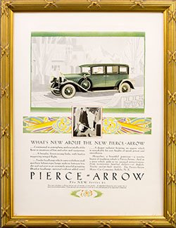 Framed 1928 Pierce Arrow Car Ad. Series 81.