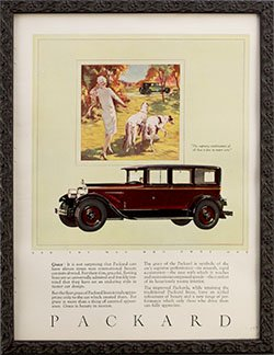 Framed 1926 Packard car ad -All That is Fine