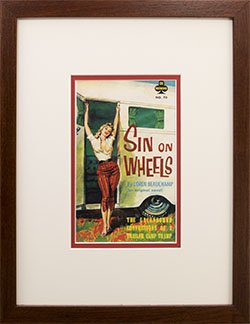 Framed Pulp Book Cover poster. Sin on Wheels.