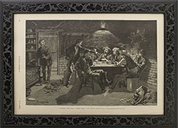 Framed 1887 Remington print Harpers Weekly; A Quarrel Over Cards